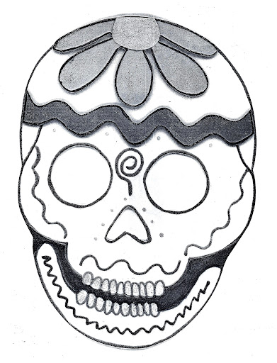 Skull Mask day of the dead coloring pages