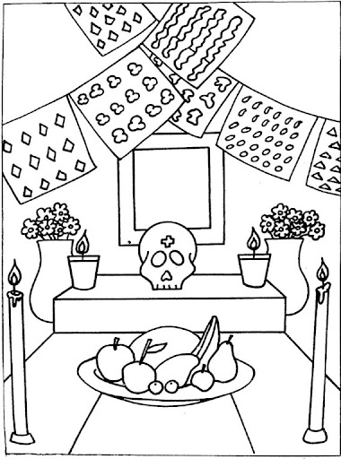 Day Of The Dead Altar Free Coloring Pages