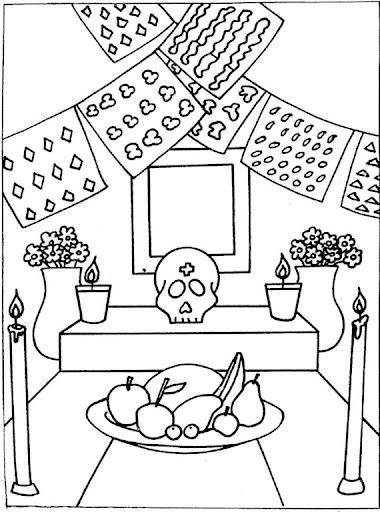 Altar día de muertos para colorear