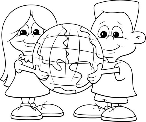 Children caring the world coloring pages