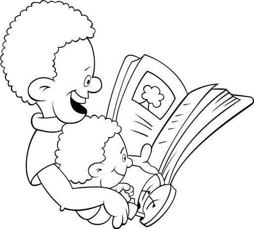 Pinto Dibujos: Papás leyendo a sus hijos para colorear