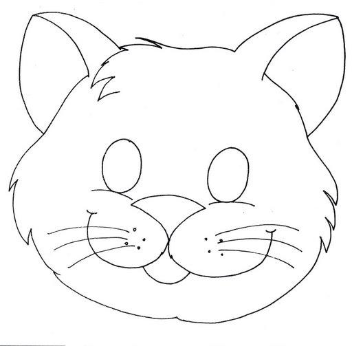 Pinto Dibujos: Máscara de gatito para colorear