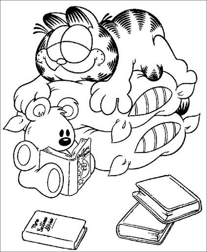 Garfield dormido para colorear