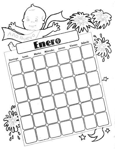 Calendario Enero para colorear