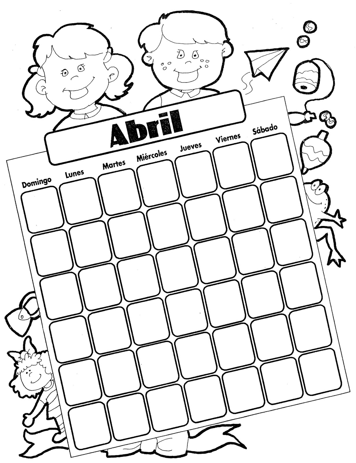 Calendario del mes de abril para colorear