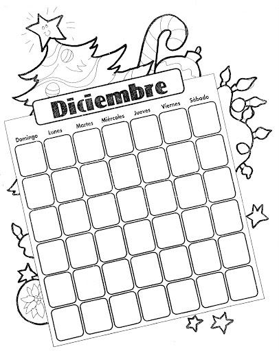 Calendario del mes de diciembre para colorear