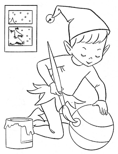 elf making toys coloring pages