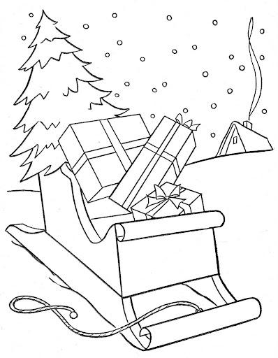 Pinto Dibujos: Trineo de Santa Claus para colorear