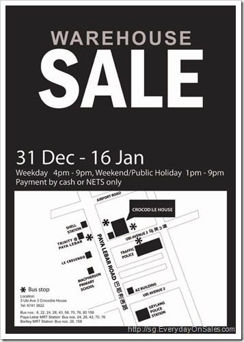 Everyday On Sales @ Singapore: Crocodile Warehouse Sale 2011