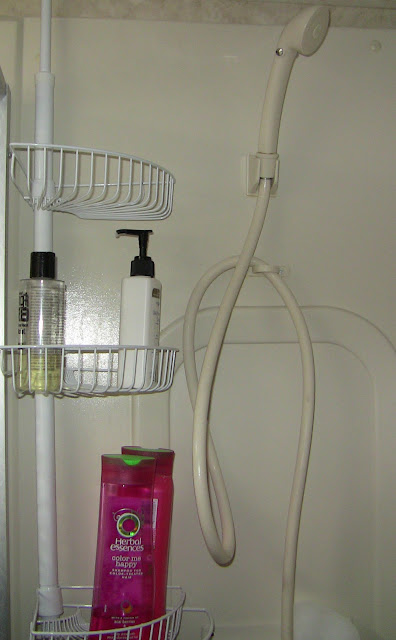 shower caddy for space saving in an rv or boat