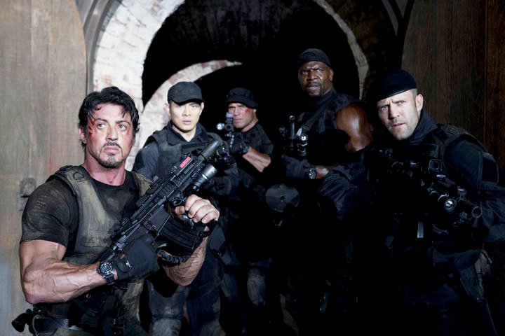 Sylvester Stallone, Jet Li, Randy Couture, Terry Crews and Jason Statham in The Expendables