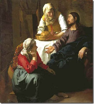 mary and martha by Jan Vermeer van Delft