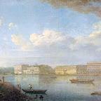 Вид дворцовой набережной в петербурге от Петропавловской крепости 1794 г. ГТГ