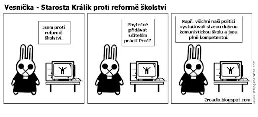 Komiks Vesnička - Starosta Králík proti reformě školství