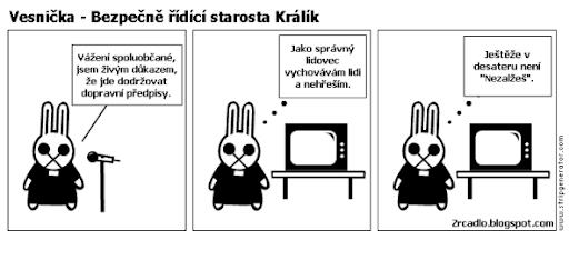 Komiks Vesnička - Bezpečně řídící starosta Králík