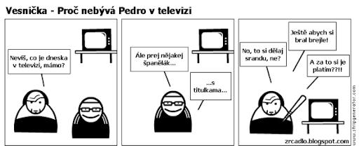 Komiks Vesnička - Proč nebývá Almodóvar v televizi