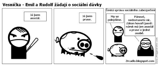 Komiks Vesnička - Emil a Rudolf žádají o sociální dávky.