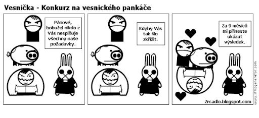 Komiks Vesnička - Konkurz na vesnického pankáče.