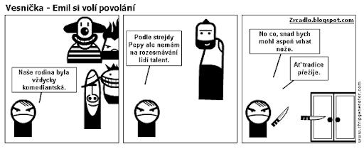 Komiks Vesnička - Emil si volí povolání.