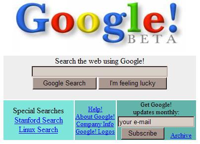 Google - Náhled z roku 1998