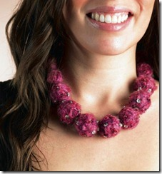 Wool covered bead necklace