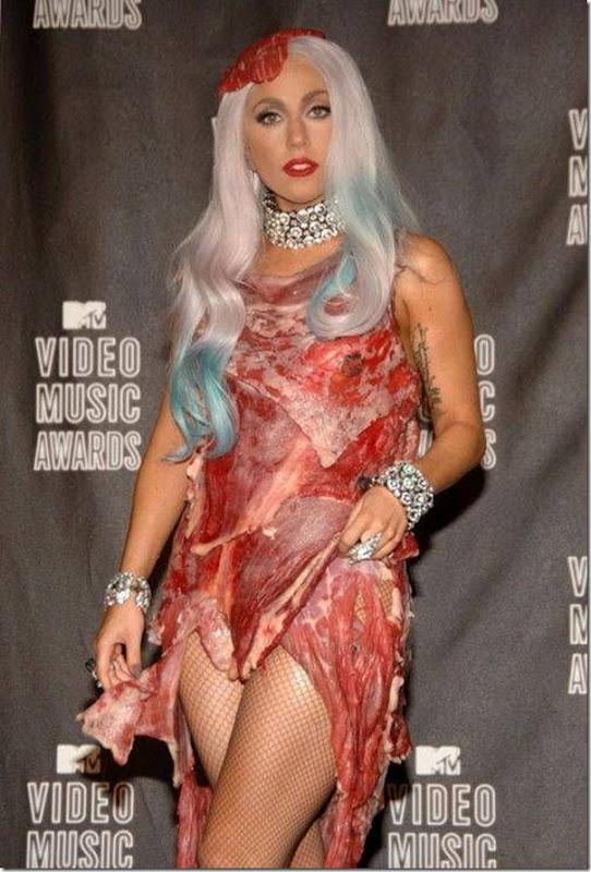 Lady Gaga e seu vestido feito de Carne (9)