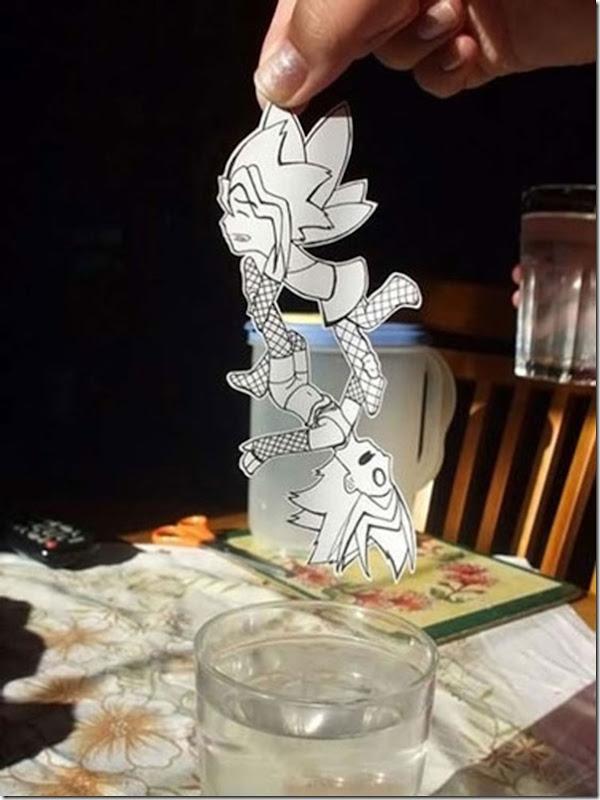 Personagens animados de cortes em papel