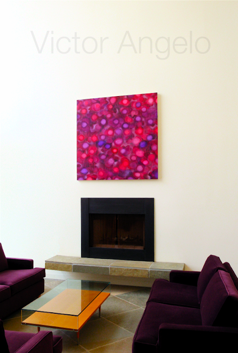 Victor Angelo pink painting sofas interior design
