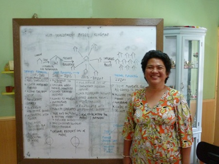 Bayon Suico with the scaling model for her school
