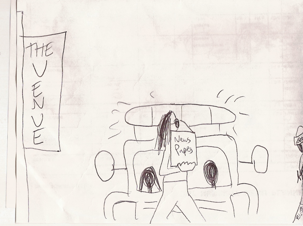 Maisey, still following Morgan, passes the police car.