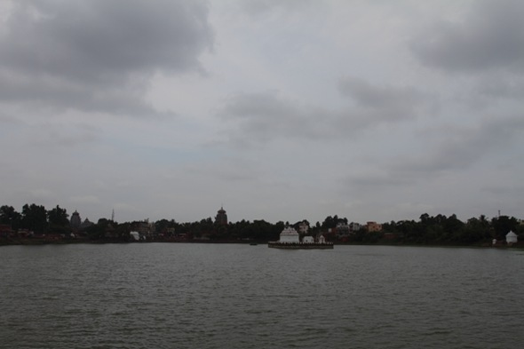 Bindu Sagar and the Lingaraj Temple Campus on a cloudy day