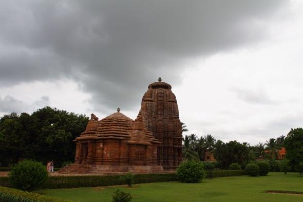Rajarani Temple under cloudy skies