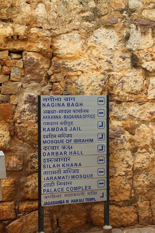 Signboard at Golconda Fort