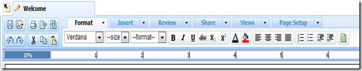 Zoho Writer 2.0 Menu Bar.