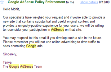Appeal Adsense Email