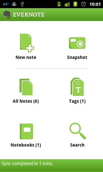 Evernote's dashboard