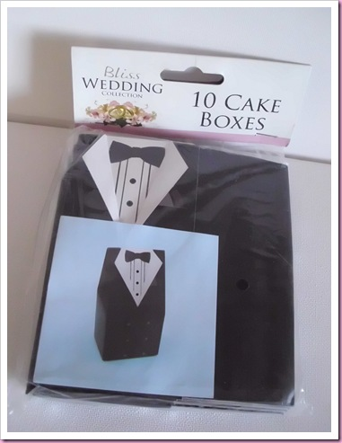 Tuxedo favor boxes from Poundland