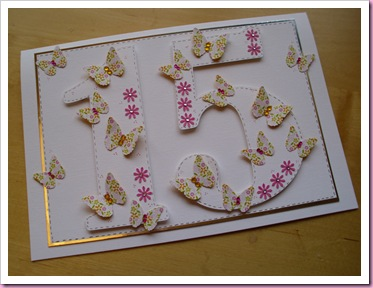 Butterfly 15th Birthday card