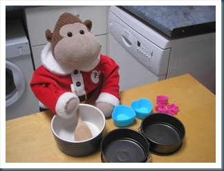 Monkey making cakes