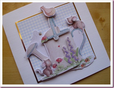 Mice with watering can decoupage card