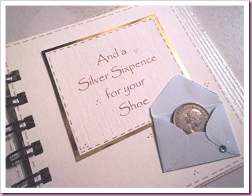 And a silver sixpence for your shoe - wedding book