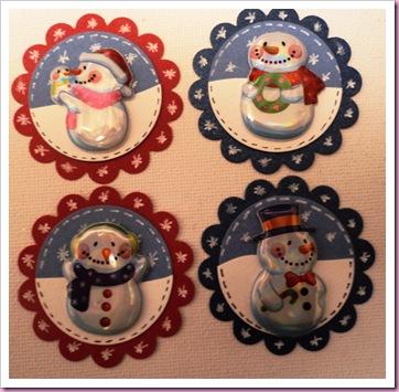 Elizabeth Shaw Mint Crisp Christmas Snowmen Favours