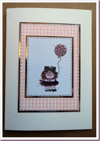 Girl with Balloon stamped card