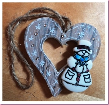 Snowman Wooden heart tag