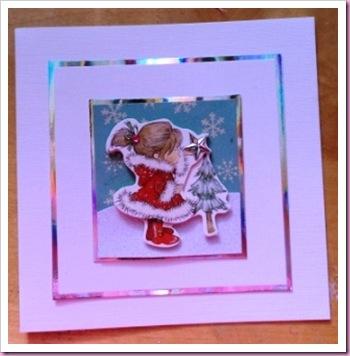 Little Girl with Christmas Tree Christmas Card