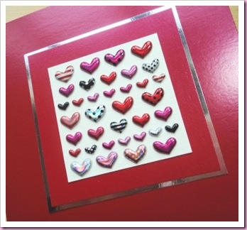 Little Puffy heart Stickers valentine Card