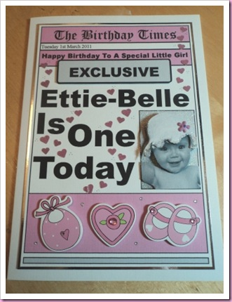 Newspaper Card Baby's First Birthday