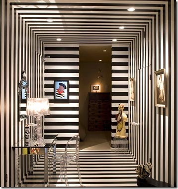 hallway-walls-ceilings-floors-in-black-and-white-stripes via jordanguidedesign