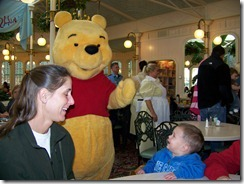 Parker meeting Pooh-- scary!!