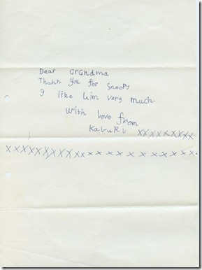 Kabuki's Letter to Grandmother on Snoopy